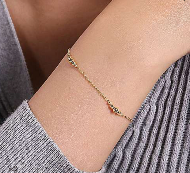14k Yellow Gold Beaded Bracelet
