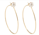 18k Yellow Gold Diamond Stud Pearl Hoops