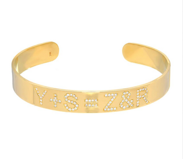 Zoe Lev 14k Yellow Gold Diamond ID Cuff Bracelet