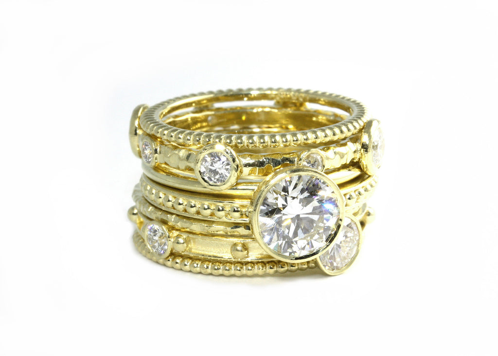 Yellow Gold and Diamond Stacking Ring