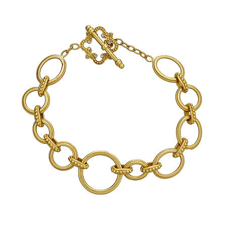 Tanya Farah 18kt Yellow Gold Link Bracelet with Flower Toggle