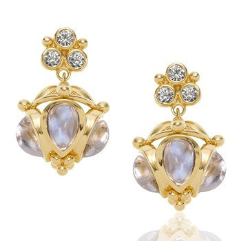 Temple St. Clair 18K Yellow Gold Blue Moonstone and Diamond Drop Earrings