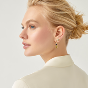 Temple St. Clair 18k Yellow Gold Foglia Double Drop Iolite and Peridot Earrings