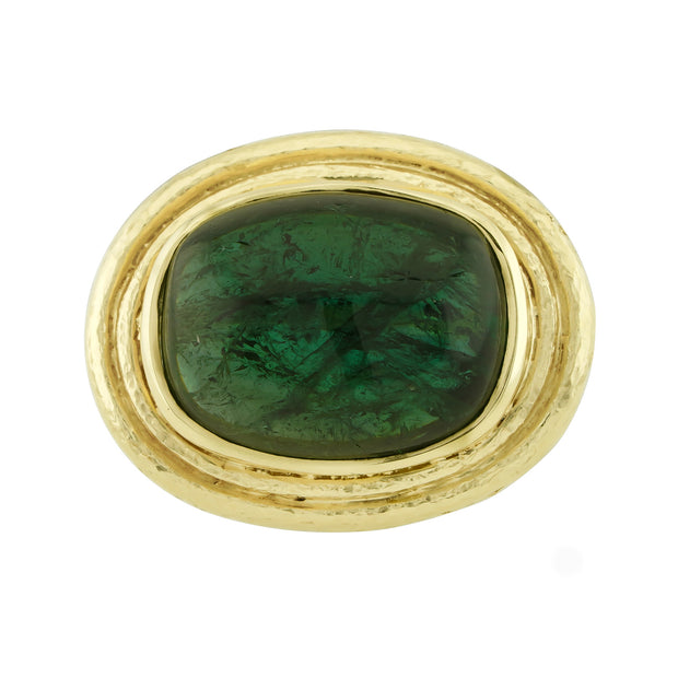 18k Yellow Gold Green Tourmaline Cabochon Ring