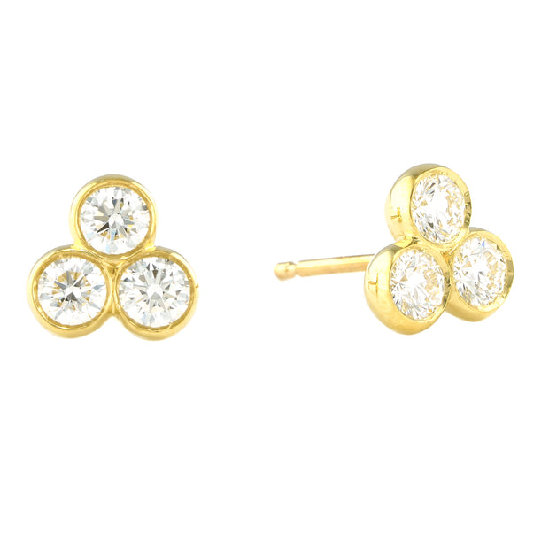 LPL Signature Collection 18K Yellow Gold Tri Bezel Diamond Studs