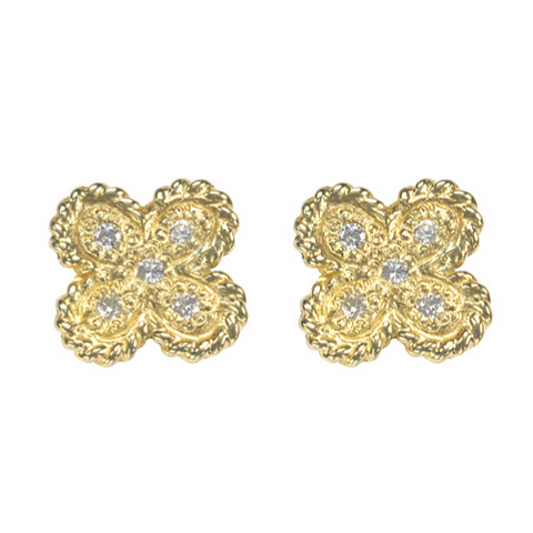 14kt Yellow Gold Clover Earring with Diamonds