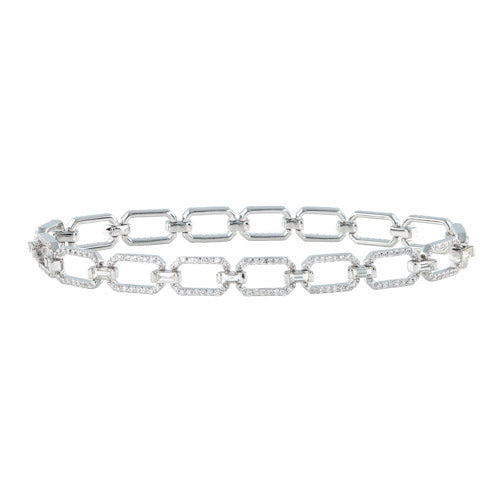 14k White Gold Diamond Link Bracelet