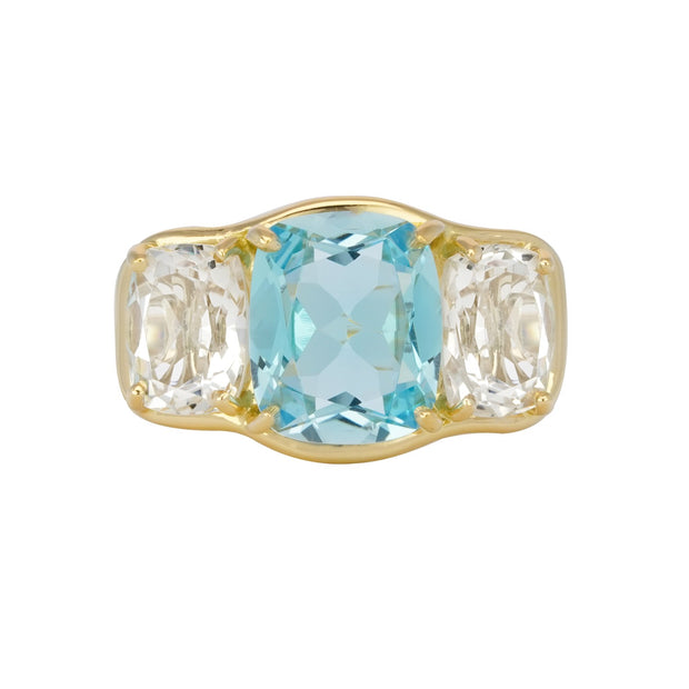 18k Yellow Gold White Topaz Ring