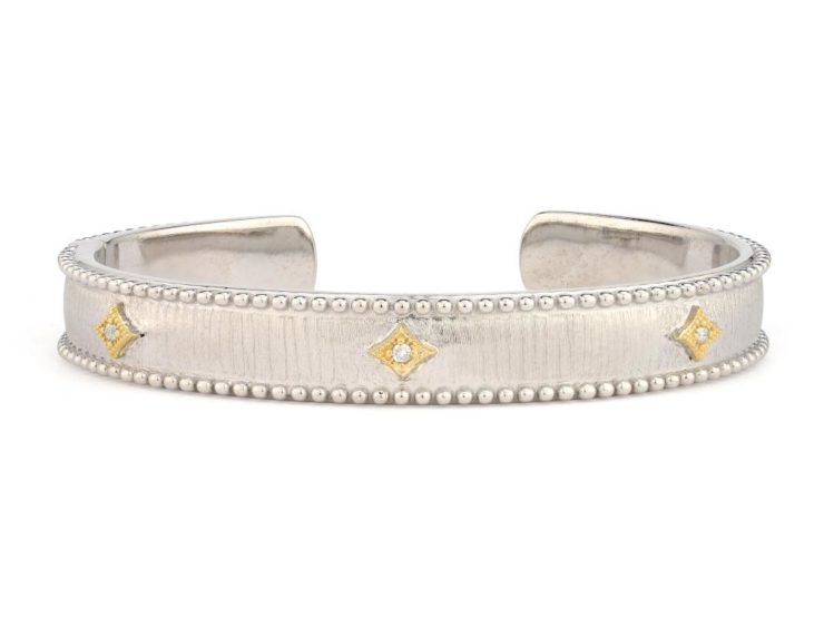Jude Frances Sterling Silver Nina Beaded Kite Cuff with Yellow Gold