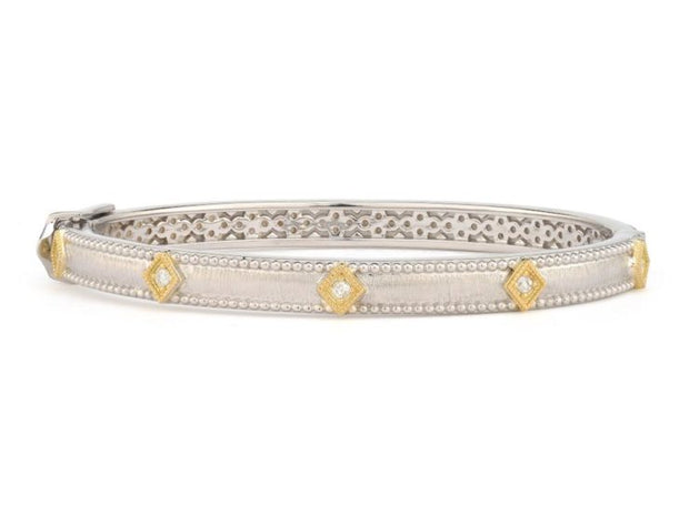 Jude Frances Sterling Silver and 18k Yellow Gold Kite Shaped Bangle