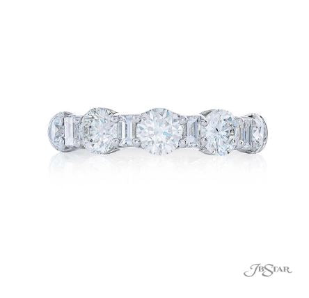 JB Star Alternating Round and Baguette Diamond Platinum Band