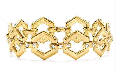 Temple St. Clair 18k Yellow Gold Beehive Diamond Link Bracelet