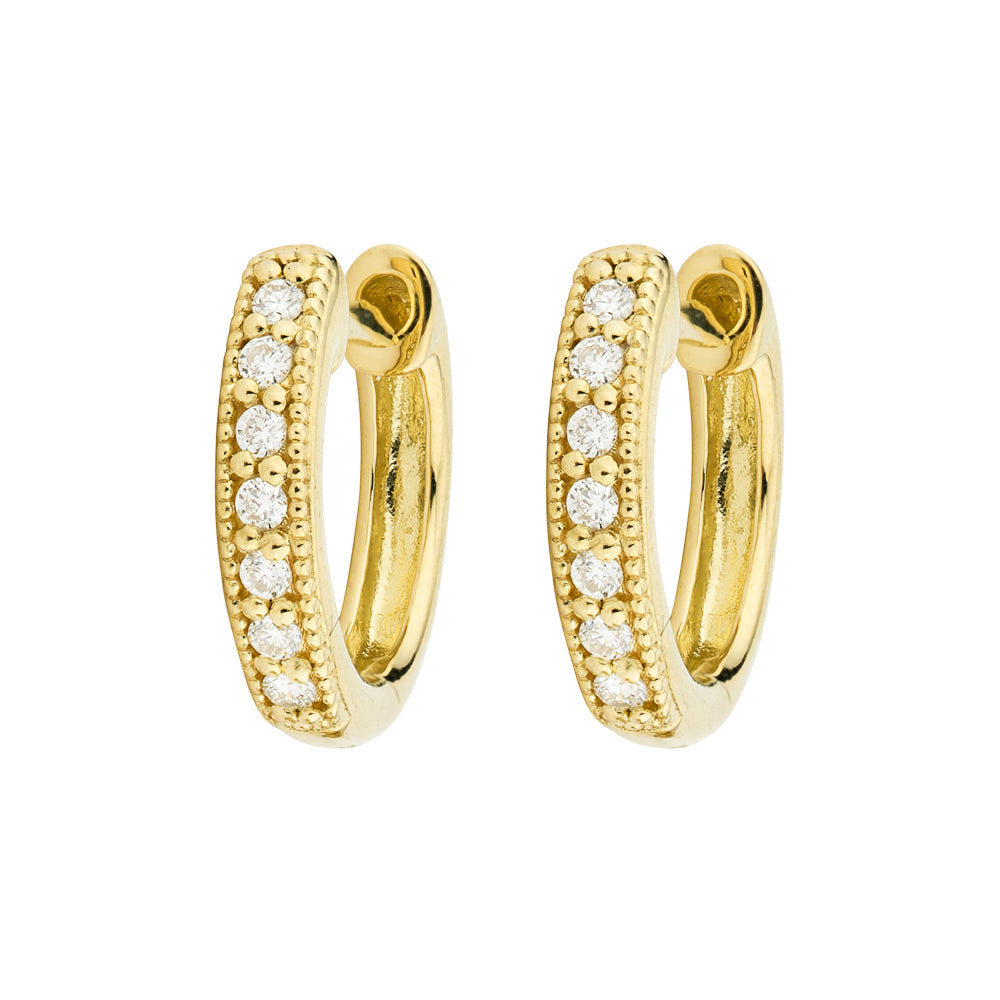 Jude Frances 18kt Yellow Gold Diamond Huggie Hoop Earring