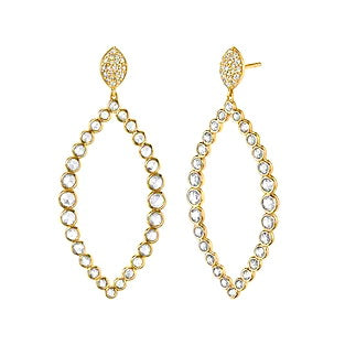 Sloane Street 18kt Yellow Gold and Rose Cut Diamond Marquis Drop Earrings
