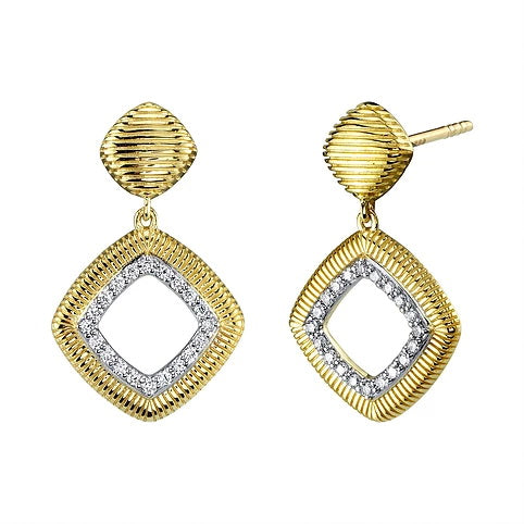 18kt Yellow Gold and Diamond Drop Earrings