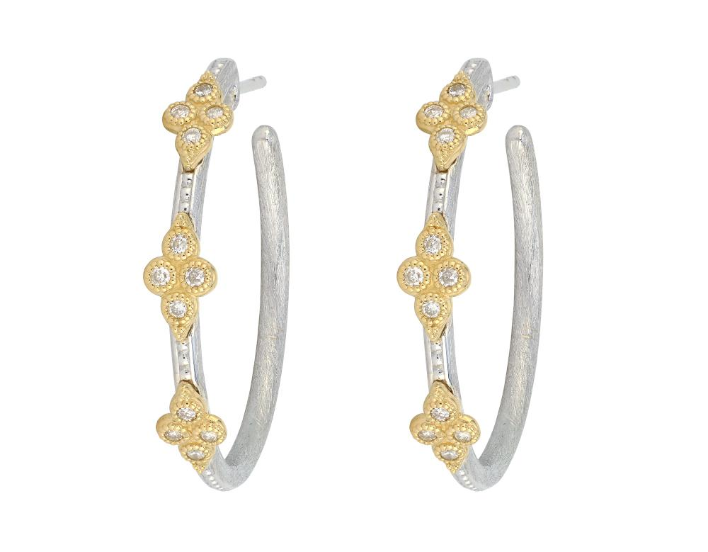 Jude Frances 18kt Yellow Gold and Sterling Silver Medium Moroccan Quad Hoop Earrings with Diamonds