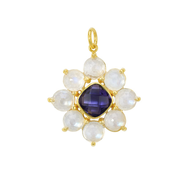 14k Yellow Gold Moonstone and Lolite Flower Pendant