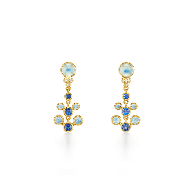 Temple St. Clair 18k Yellow Gold Small Sapphire, Moonstone and Diamond Drops