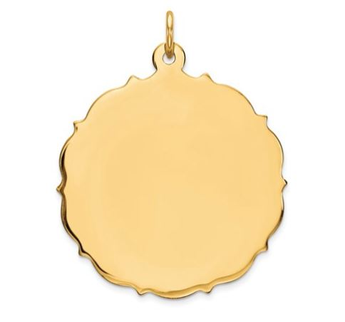 14k Yellow Gold Scalloped Engravable Disc