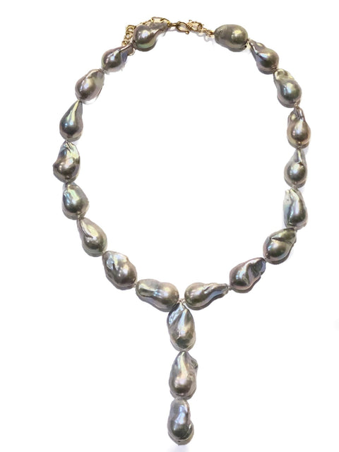Large Grey Baroque Freshwater Pearl Necklace