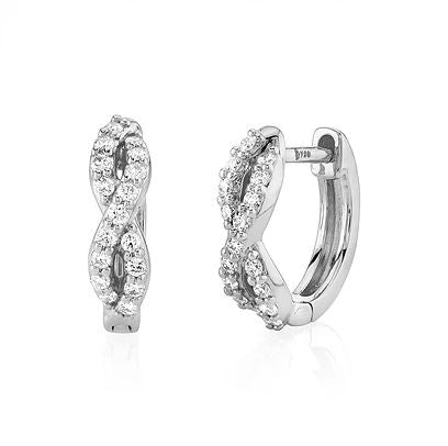18kt White Gold Braided Diamond Huggies