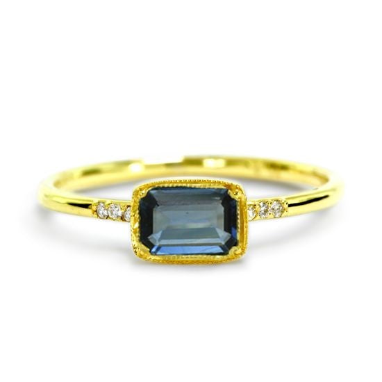 14kt Yellow Gold Karina Blue Sapphire and Diamond Ring