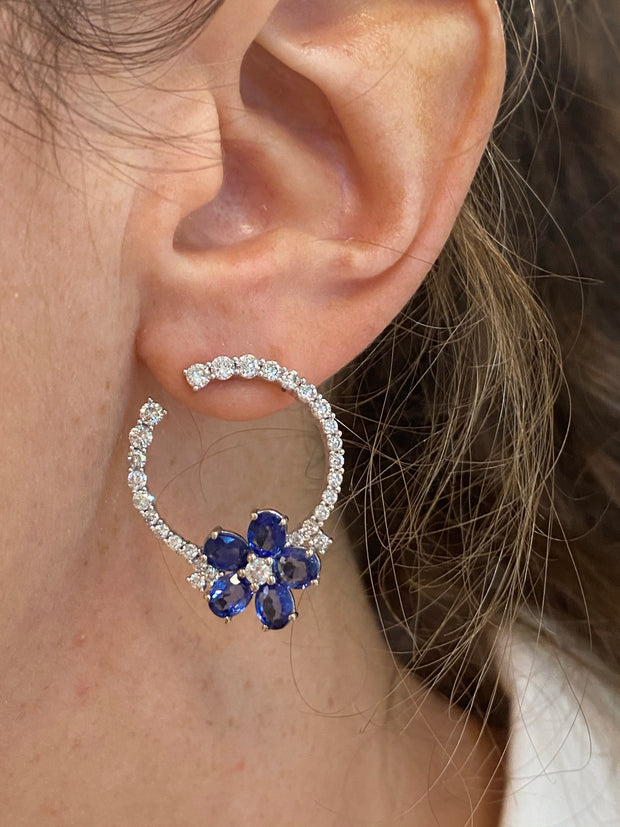 18k White Gold Oval Sapphire Flower Diamond Post Earrings