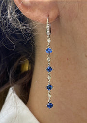 Penny Preville 18k White Gold Blue Sapphire Drop Earrings