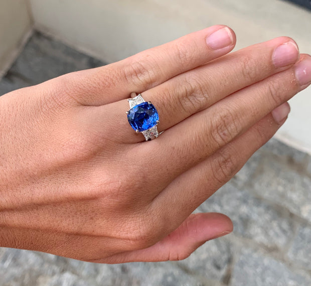 LPL Signature Collection Platinum Cushion Cut Sapphire and Diamond Ring
