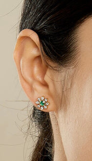 Syna 18k Yellow Gold Emerald and Diamond Flower Studs