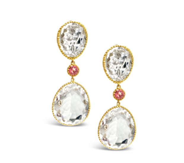 18k Yellow Gold Crystal Drops
