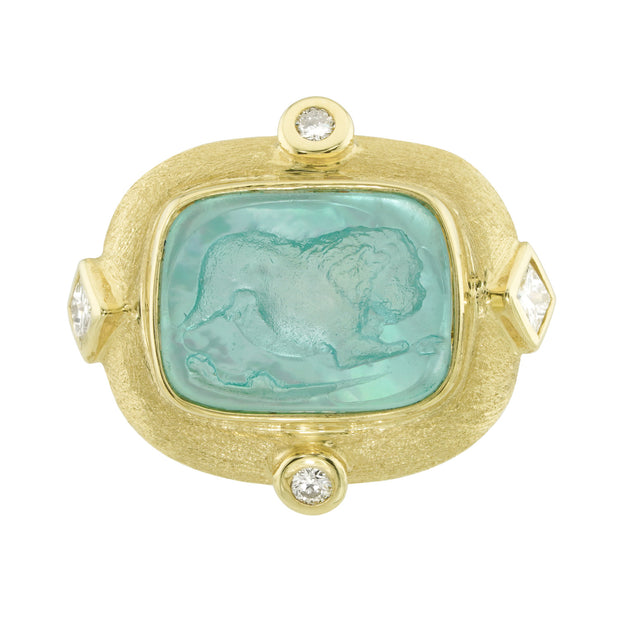 14k Yellow Gold Aquamarine Venetian Glass Ring