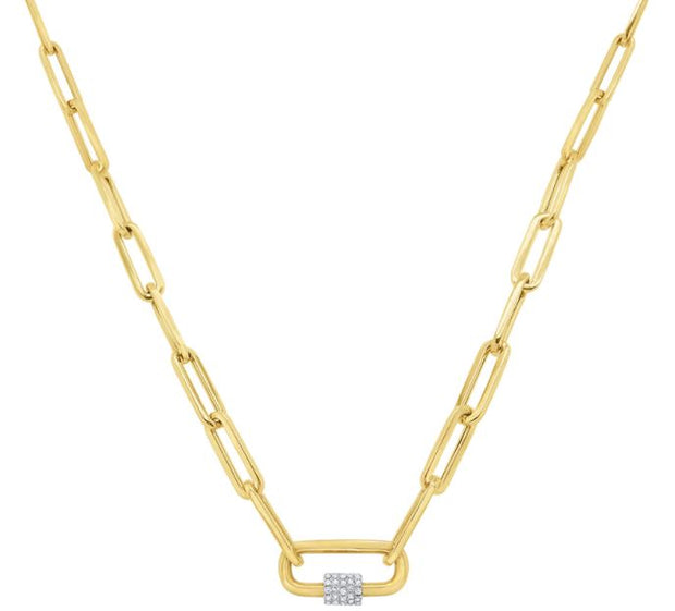 14k Yellow Gold Paperclip Necklace
