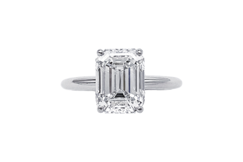 Platinum Emerald Cut Diamond Semi-Mount Ring