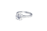 Platinum Round Brilliant Diamond Ring with Beadset Diamond Band