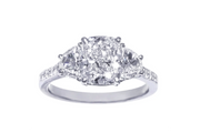 Platinum Cushion Cut Diamond with Half Moon Diamond Side Stones