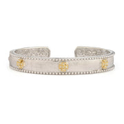 Jude Frances 18k Yellow Gold and Silver Narrow Beaded Maltese Cuff