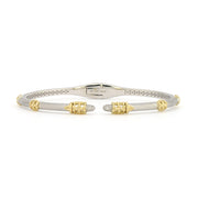 Jude Frances 18k Yellow Gold and Silver Diamond Beaded Trio Bangle
