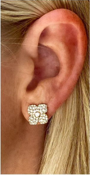 Penny Preville 18k Yellow Gold Diamond Flower Studs