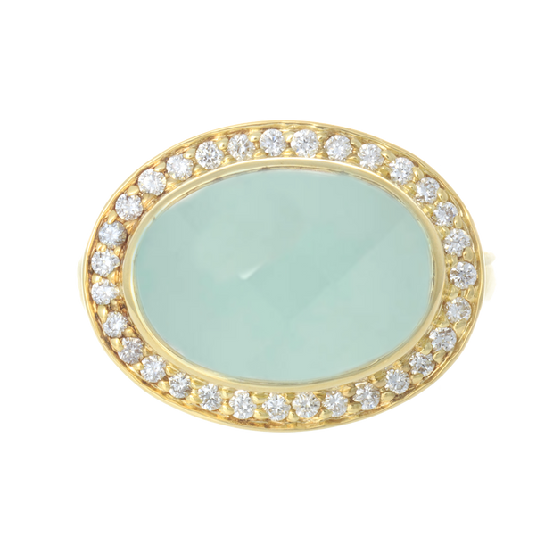 14kt Yellow Gold Aqua Cabochon and Diamond Ring
