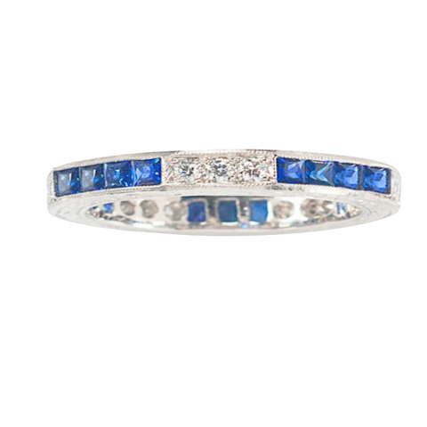 Art Deco Platinum Sapphire and Diamond Band