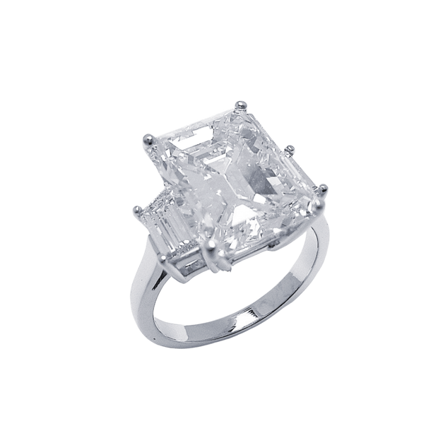 Emerald Cut 3 Stone Platinum and Diamond Ring