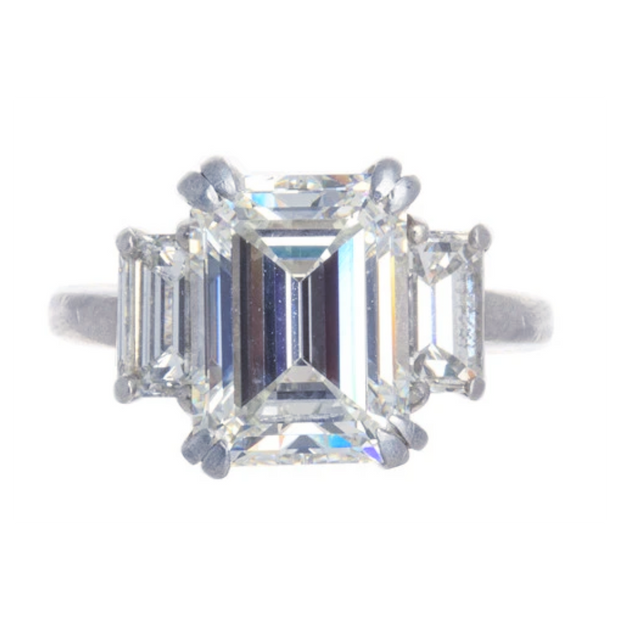 Platinum Emerald Cut Diamond Three Stone Ring