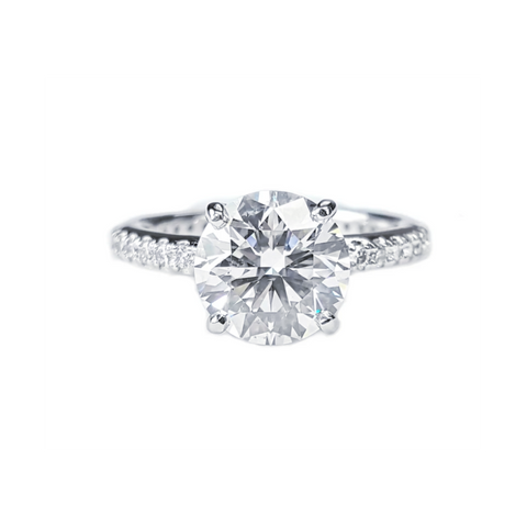 Platinum Solitaire Round Brilliant Diamond Ring with Prong Set Diamond Band