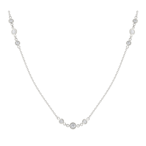 14k White Gold Triple Station Diamond by the Yard