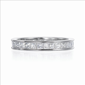 18 Karat White Gold and Diamond Channel Set Band