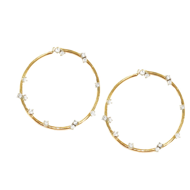 14k Yellow Gold Small Diamond Round Earrings on Post
