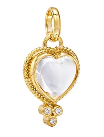 Temple St. Clair 18k Yellow Gold Rock Crystal Heart Pendant