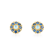 Temple St. Clair 18k Yellow Gold Blue Moonstone and Sapphire Studs