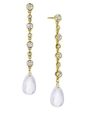 Syna 18K Yellow Gold Rock Crystal Earrings with Diamonds